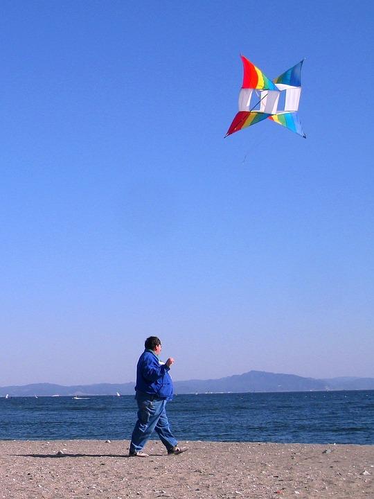Nobi Beach, Kite, Wind, Man, Japanese, Blue Sky