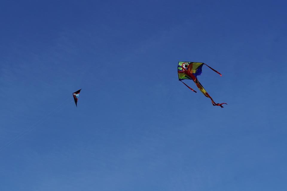 Dragon, Kite Flying, Kites Rise, Sky, Blue, Autumn