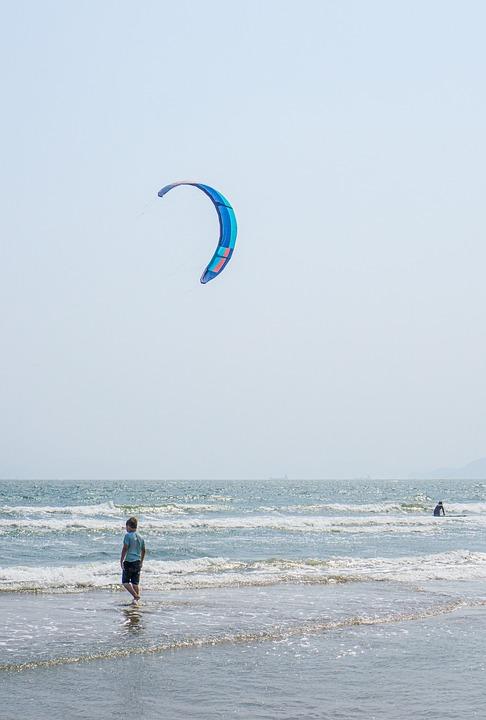 Beach, Sea, Kitesurfing, Waves, Ocean, Vacation