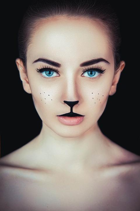 Girl, Cat, Kitten, Fashion, Catwoman, Model, Makeup