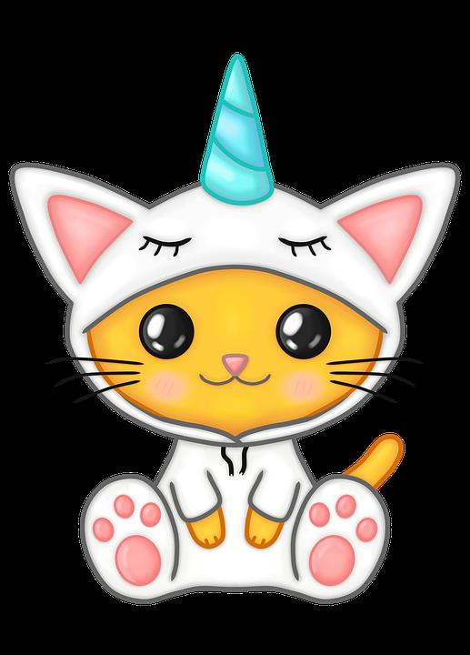 Cat, Feline, Kitten, Kawaii, Cartoon, Unicorn, Whiskers