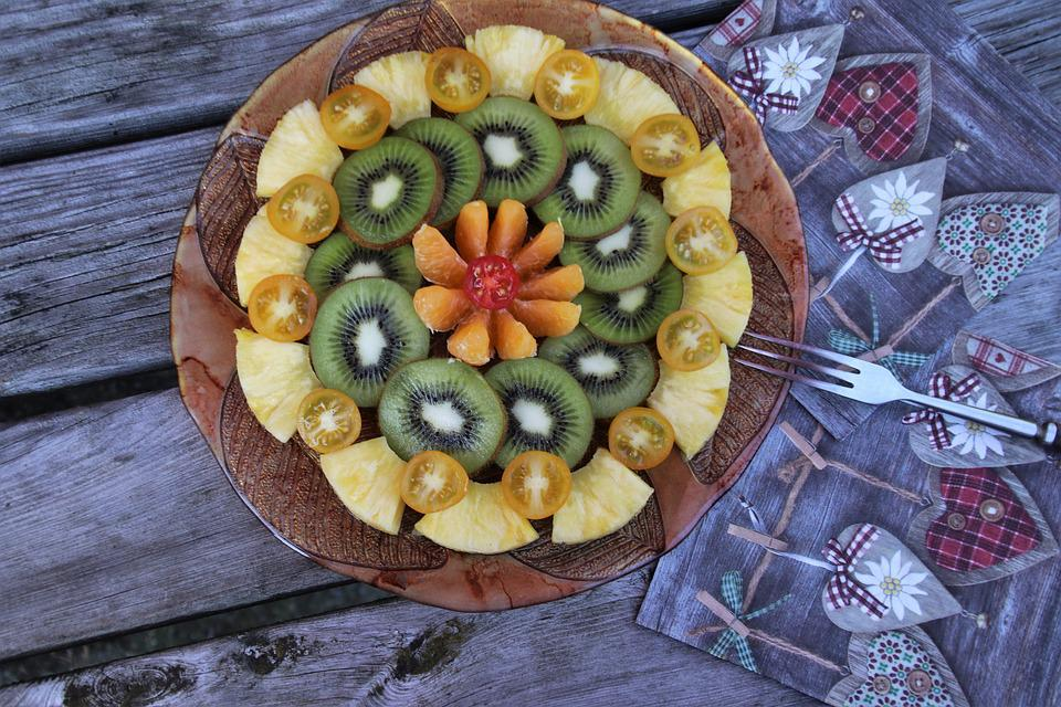 Fruit, Plate, Multicolored, Fresh, Delicious, Kiwi