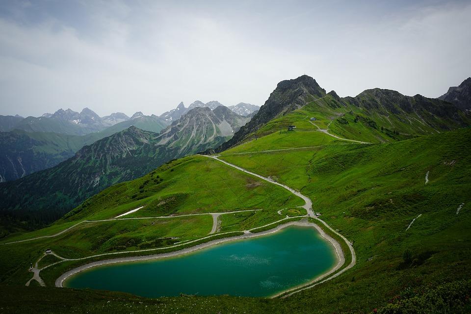Mountain, Lake, Snow, Hiking, Kleinwalsertal, Austria