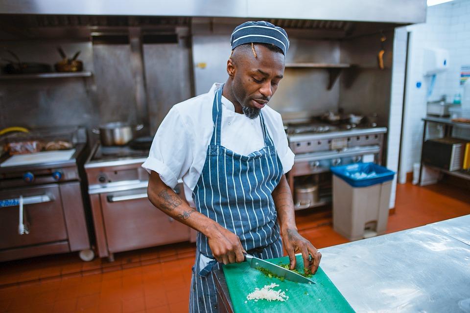 People, Man, Chef, Kitchen, Chopping, Board, Knife