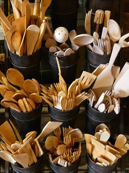 Wooden Cutlery, Cutlery, Wood, Knife, Fork, Spoon