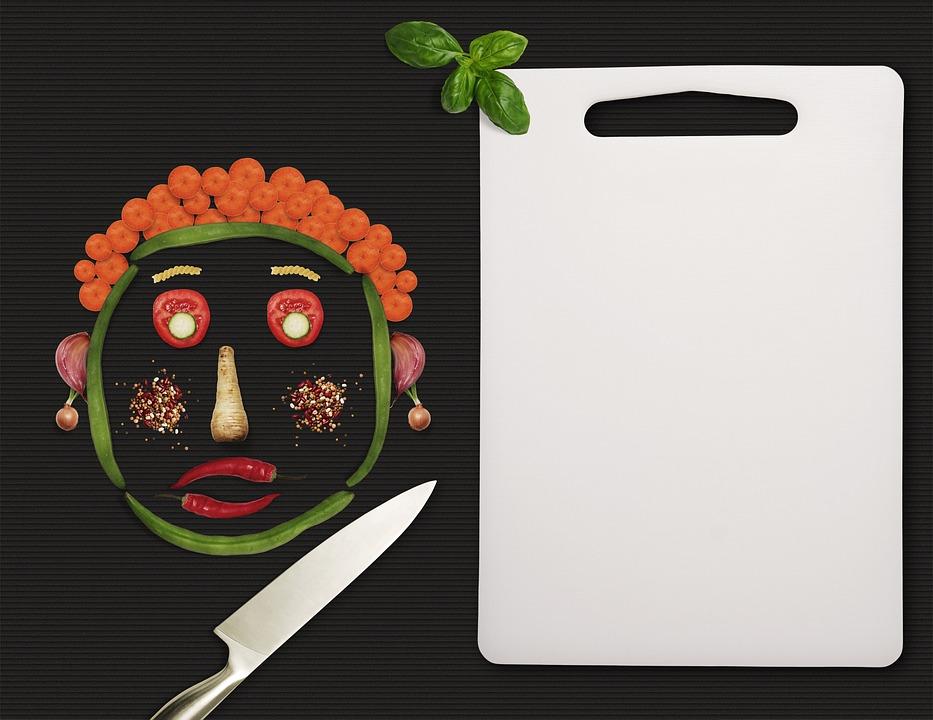 Menu, Vegetables, Knife, Board, Face, Head, Background