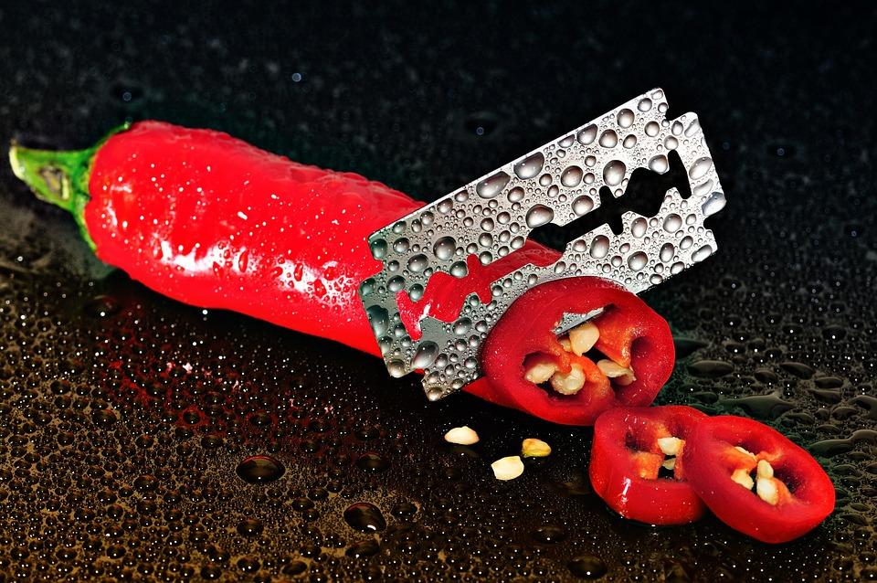 Pepperoni, Red, Sharp, Cut, Knife, Razor Blade, Wet