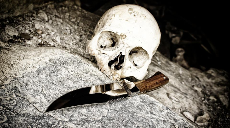 Skull, Knife, Bone