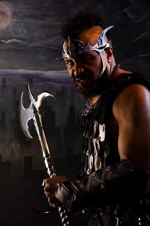 Warrior, Axe, Sword, Knight, Mohawk, Armor, Power, War