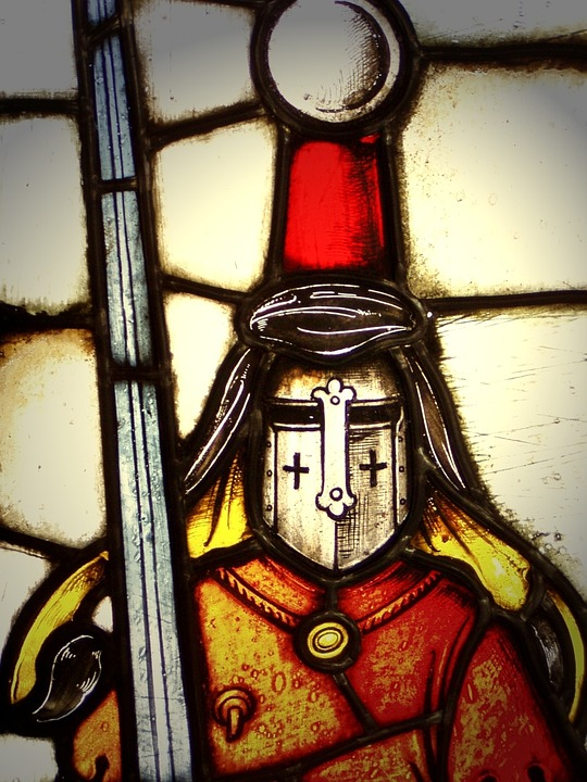 Knight, Window, Glass, Colorful