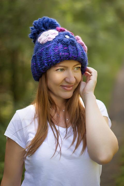 Woman, Smile, Wool Hat, Knit Cap, Bonnet, Girl, Female