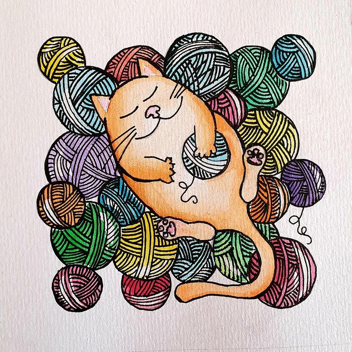 Cat, Watercolour, Art, Yarn, Knitting, Knitter, Wool
