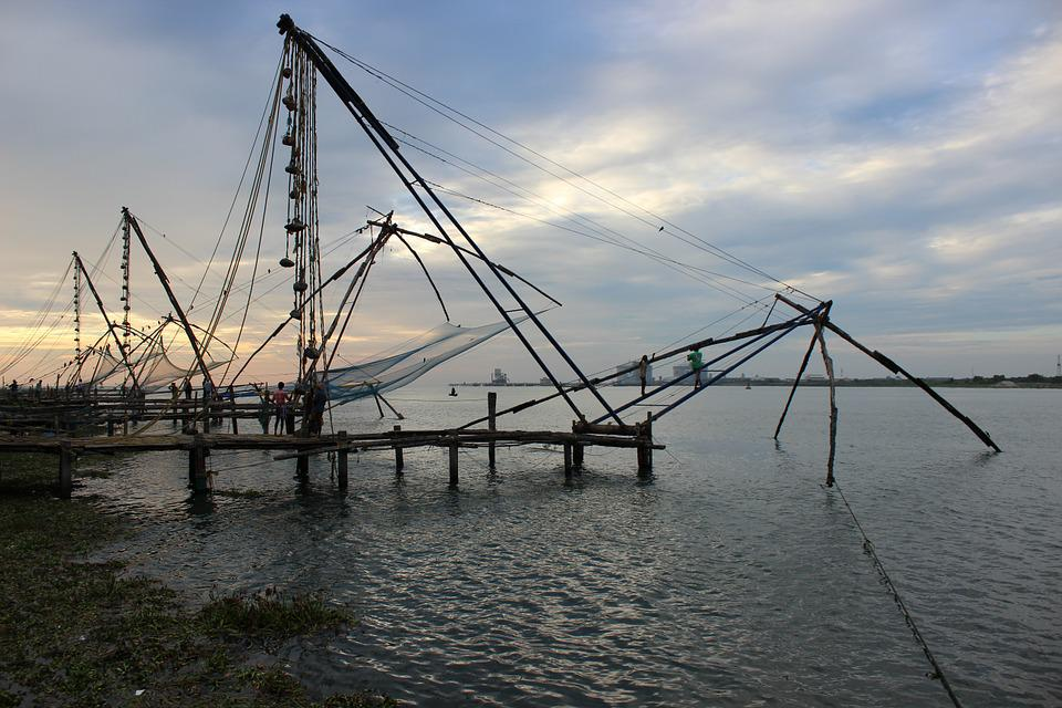 Kerala, Fishing, Fishnet, Evening, Cochin, Kochi, Sea