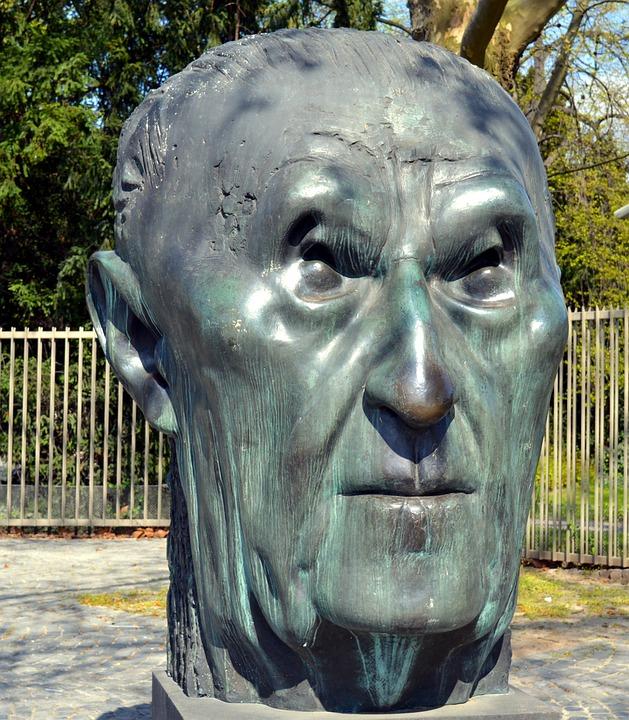 Sculpture, Bust, Head, Imposing, Konrad Adenauer