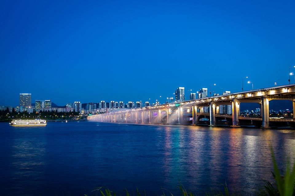 Han River, Seoul, River, Korea, City, Night View