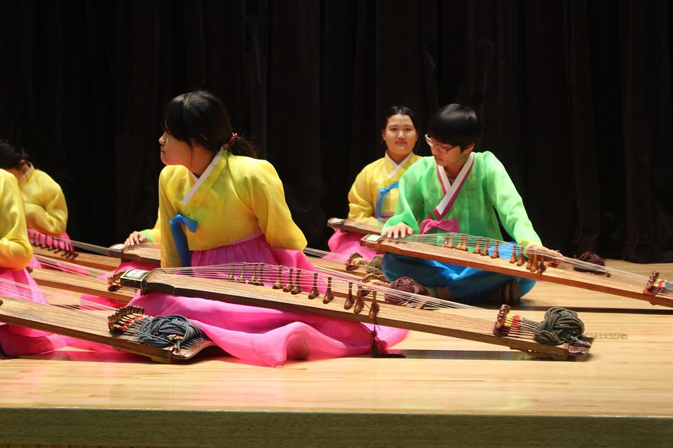 Korean, Music, Hanbok, Musicians, Stage