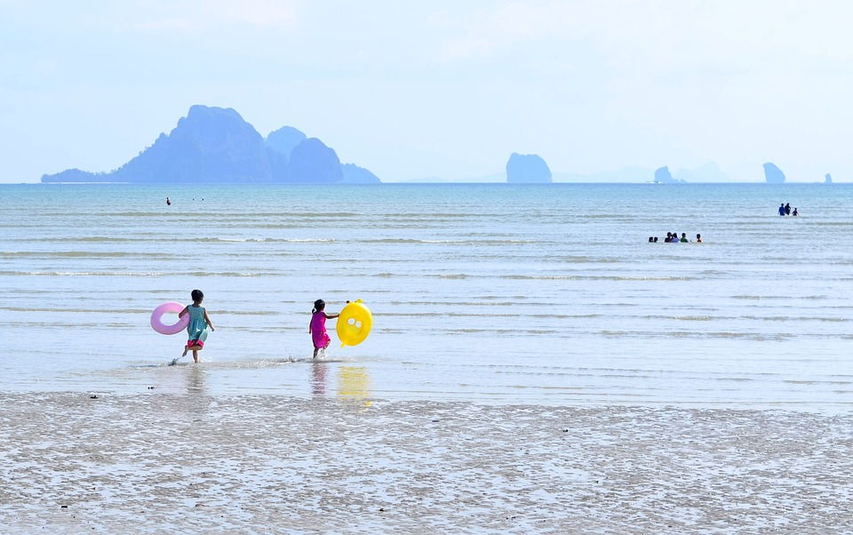 Thailand, Krabi, Beach, Aonang, Ao Nang, Kids