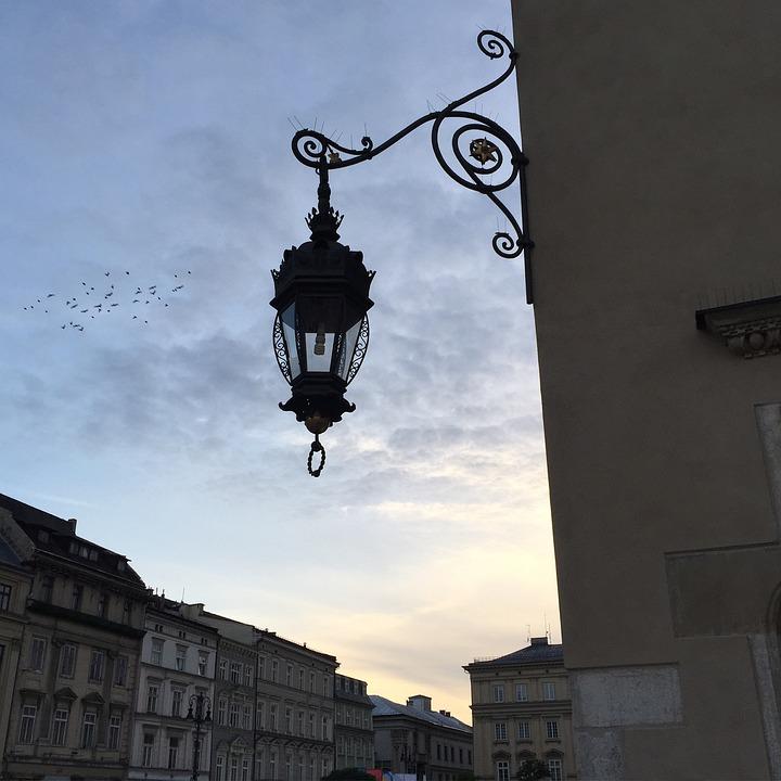 Lamp, Krakow, Poland, Evening