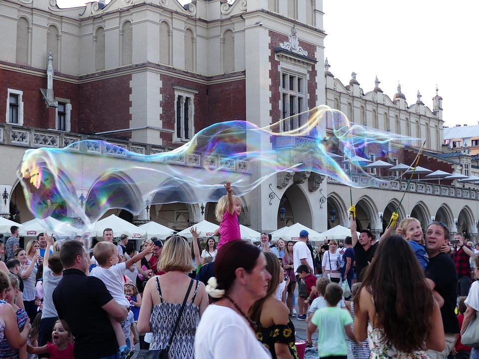Kraków, Fun, Soap Bubbles, The Market, Let Bubble