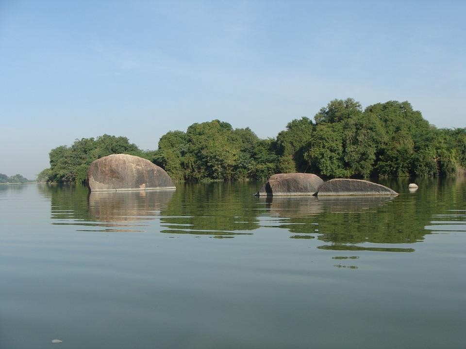 Krishna River, Raichur, Karnataka, India, Rocky Outcrop