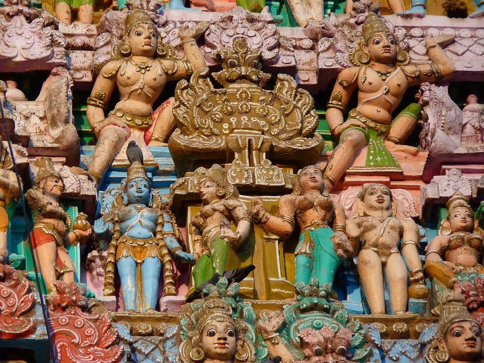 Temple Figures, Temple, Colorful, Vishnu, Kumbakonam