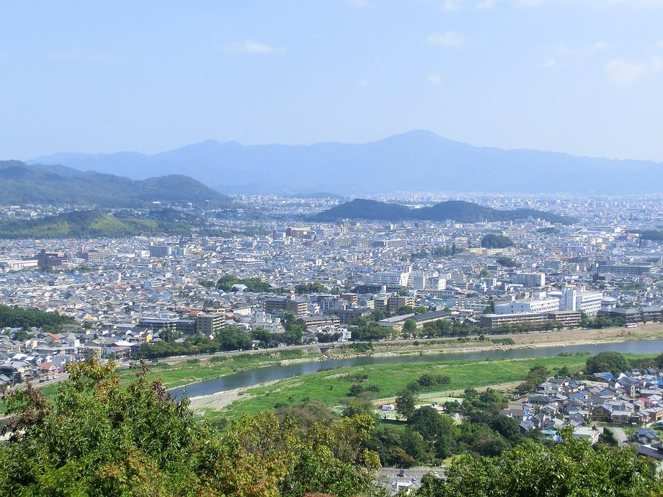 Kyoto, Japan, Cityscape, City, Mountain, Landscape