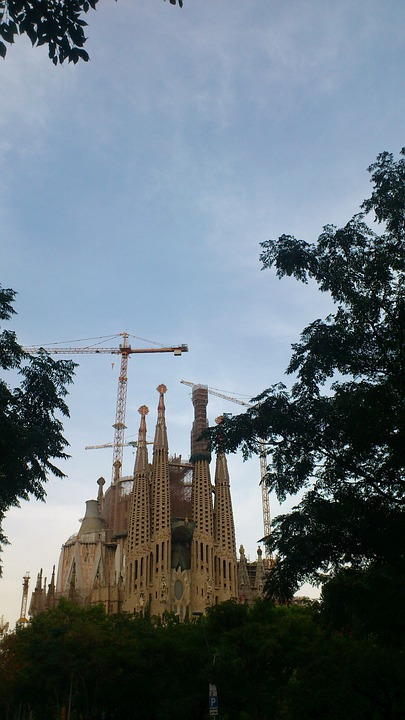 Spain, Sky, Architecture, La Sagrada Familia, Church