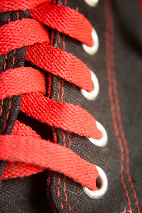 Laces, Black, Shoes, Red, Sneakers, Converse, Fashion
