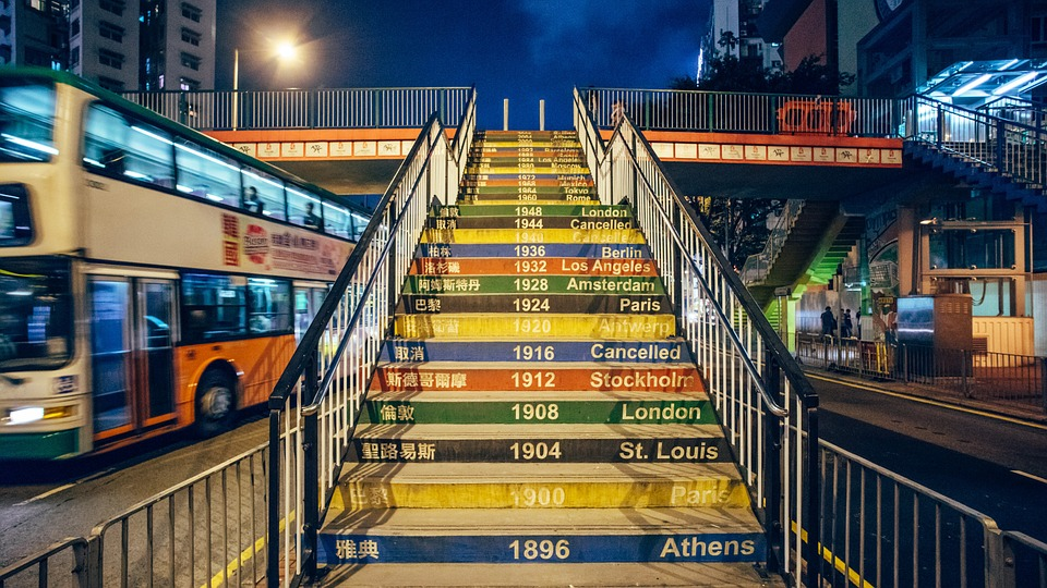 Olympic Games, Ladder, Year, Night, Hong Kong, Tourism