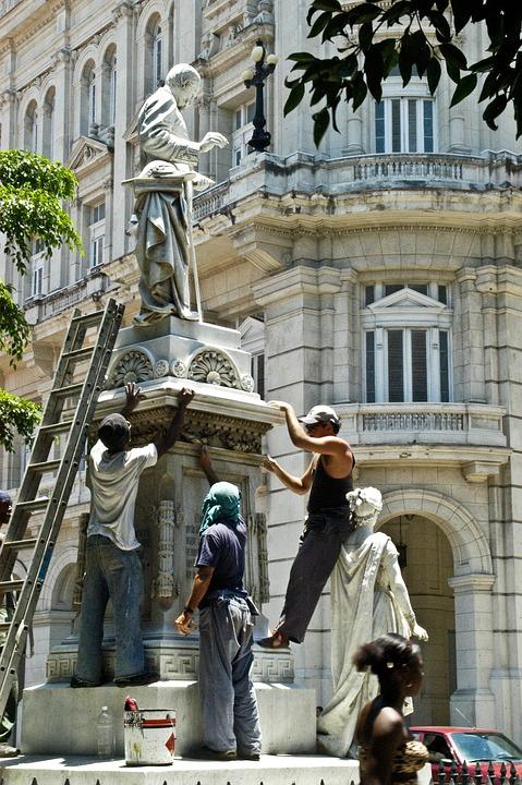 Sculpture, Workers, Ladder, History, Havana