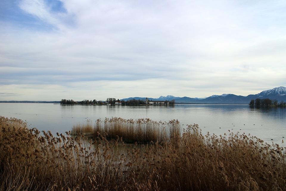 Landscape, Chiemsee, Reed, Island, Ladies Island, Sky