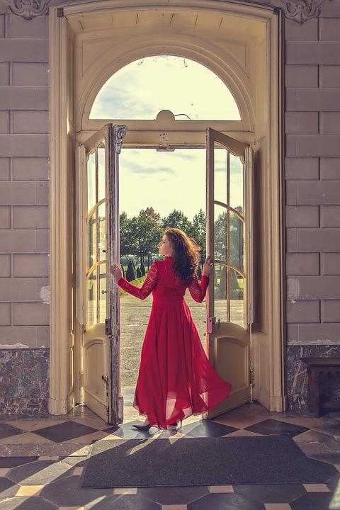 Great Doors, Castle, Lady In Red, Sunny Day, Shadows