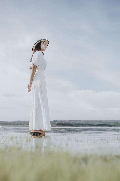 Woman, Lady, Lake, Grass, Tree, Outdoor, Cloud, Water