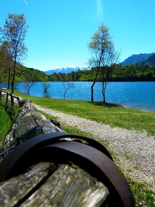 Tenno Lake, Lago Di Tenno, Italy, Away, Railing, Wood