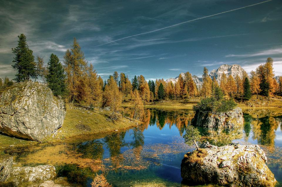 Lago Federa, Autumn, Sky, Dolomites, Landscape, Nature
