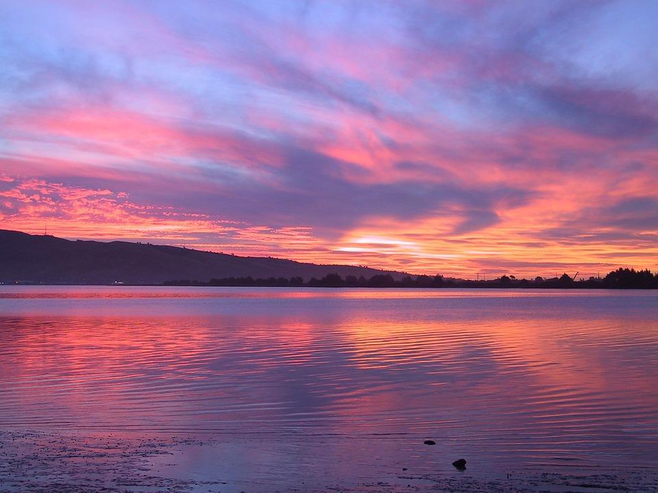 Lake, Evening, Sunset, Abendstimmung, Water, Clouds