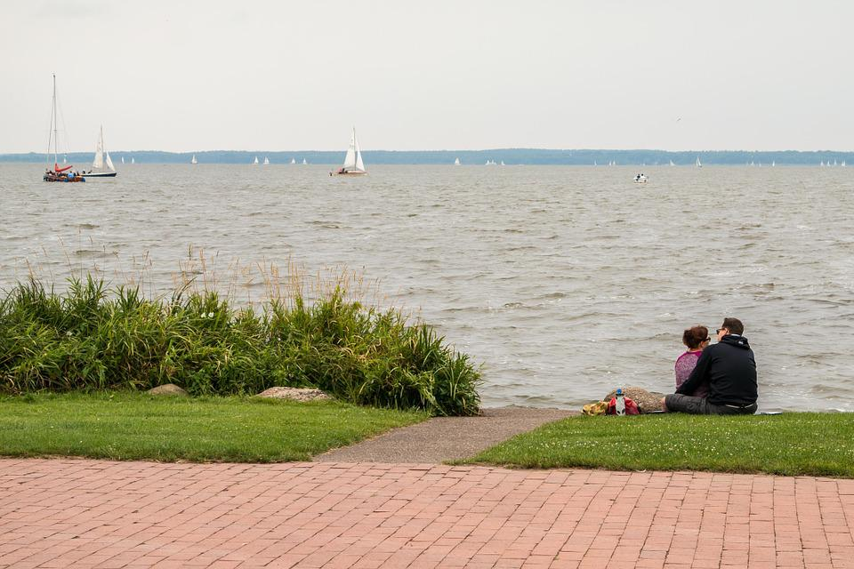 Lake, Bank, Pair, Lovers, Promenade, Idyll, Atmospheric