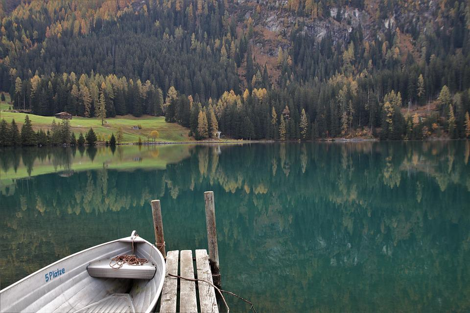 Boat, Autumn, Lake, Davos, Beach, Landscape, Nature