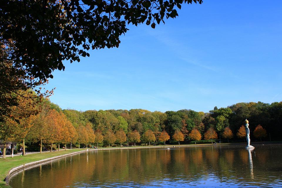 Oostende, Maria Hendrikapark, Autumn, Lake, Water