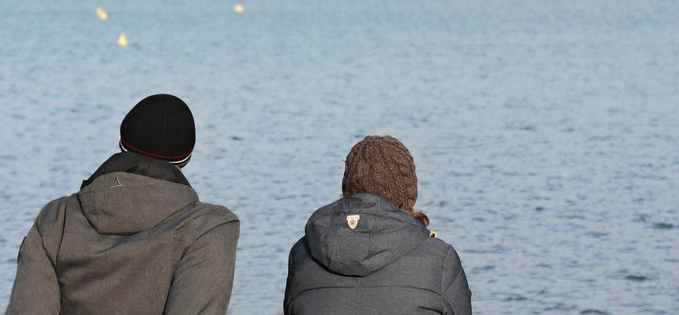 Man, Woman, Waters, Winter, Lake, Human, Water, Bank