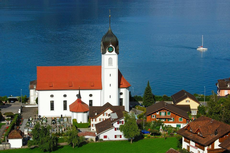 Lake Lucerne Region, Church, Switzerland, Blue, Lake
