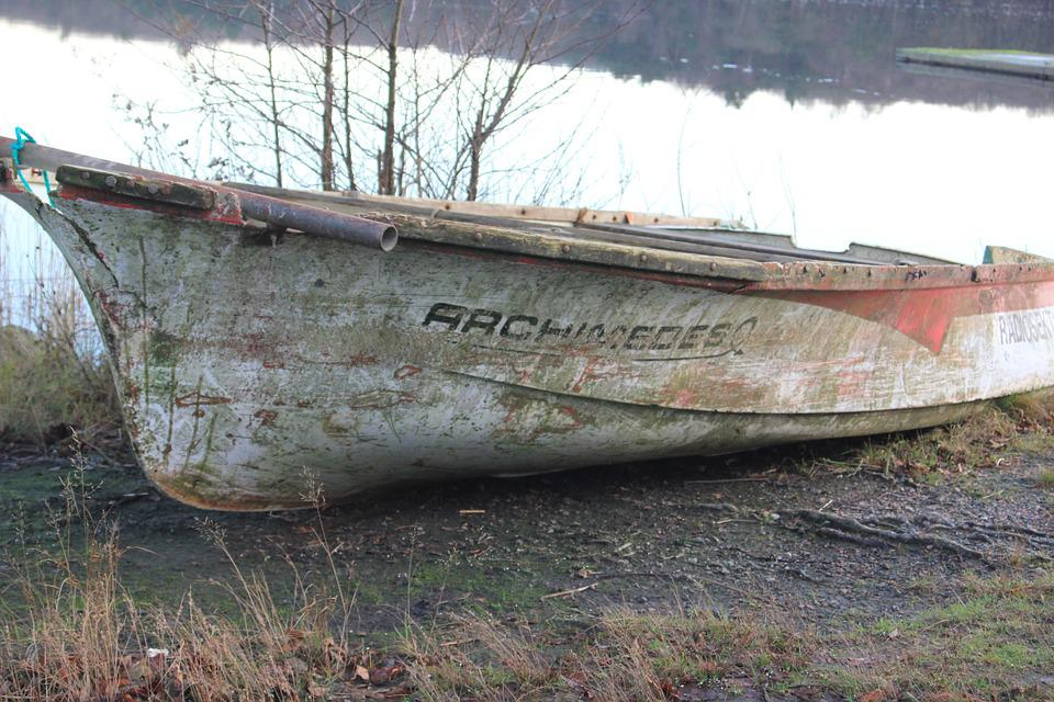 Boat, Lake, Broken, Rowboat, Water, Salvaged
