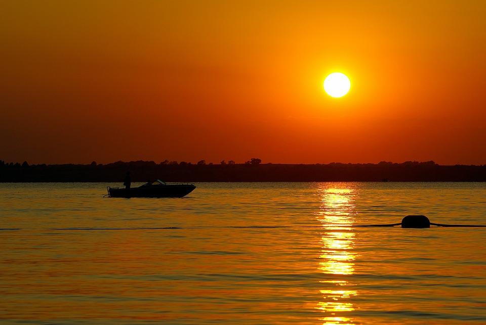 Boating Canton Lake At Sunset, Lake, Sunset, Boat