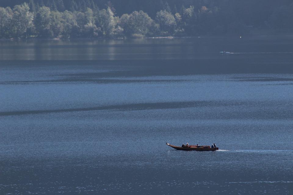 Lake, Hallstättersee Lake, Zille, Boot
