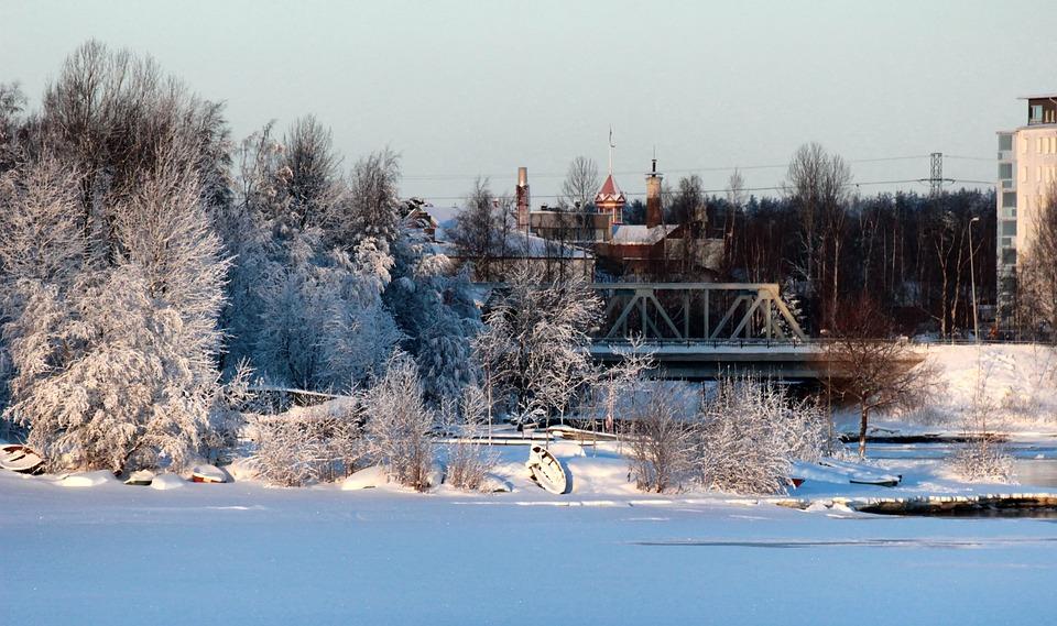 Oulu, Finland, Bridge, Buildings, Lake, Frozen, Trees
