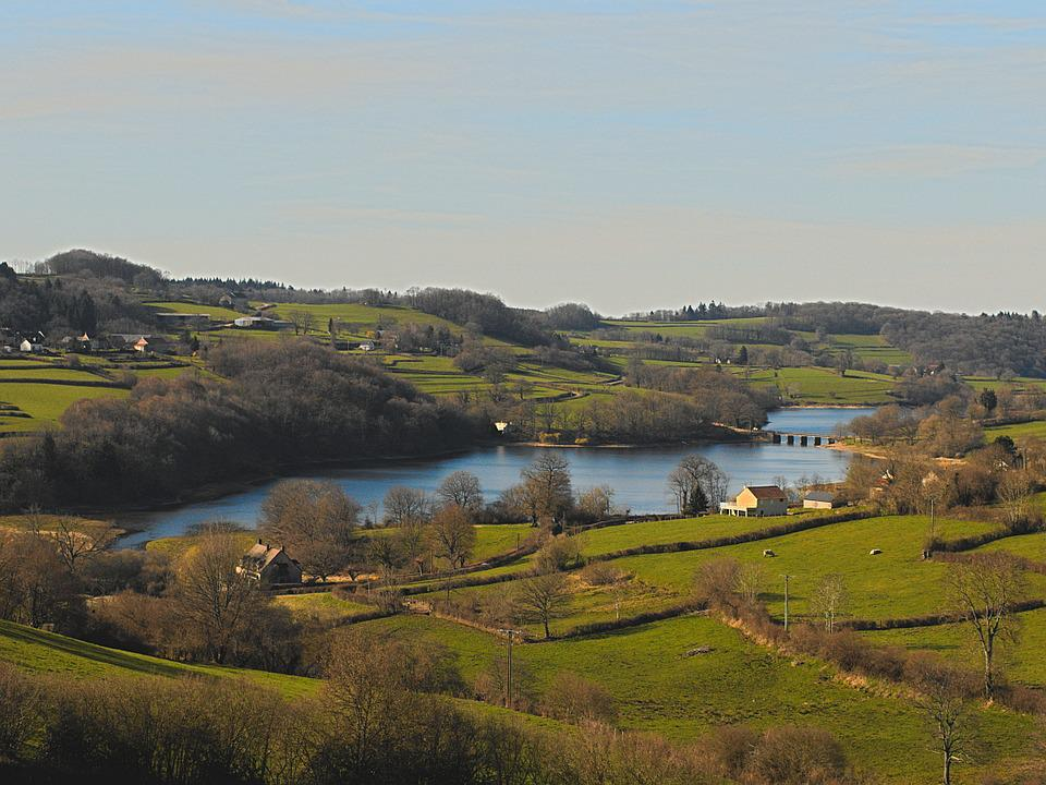 Landscape, Lake, Morvan, Burgundy, France, Blue Sky