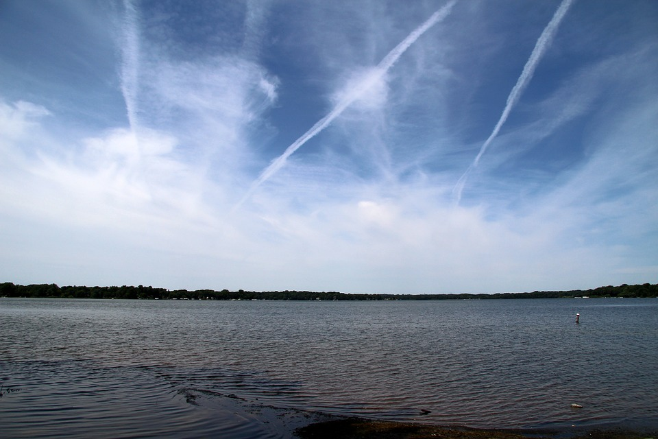 Clouds, Lake, Contrails