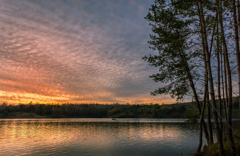 Sunset, Lake, Clouds, Landscape