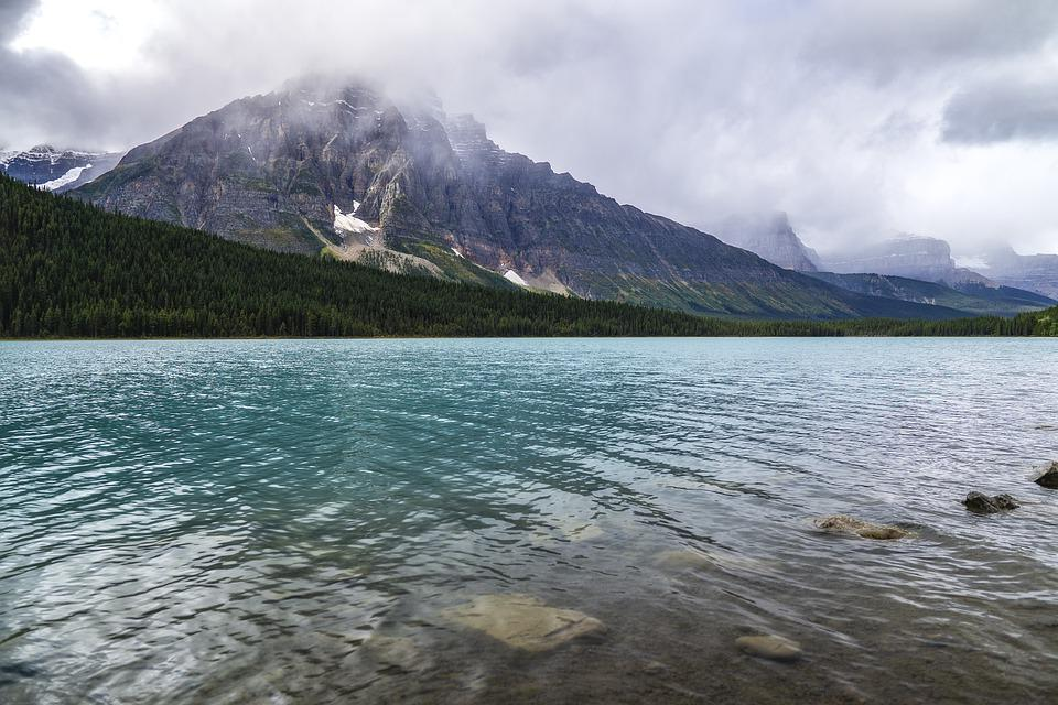 Lake, Mountain, Rocky Mountains, Clouds, Forest