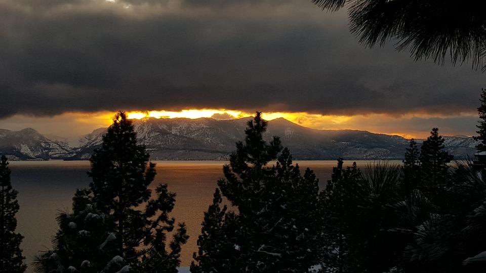 Sunset, Snow, Lake, Nature, Landscape, Sky, Cold